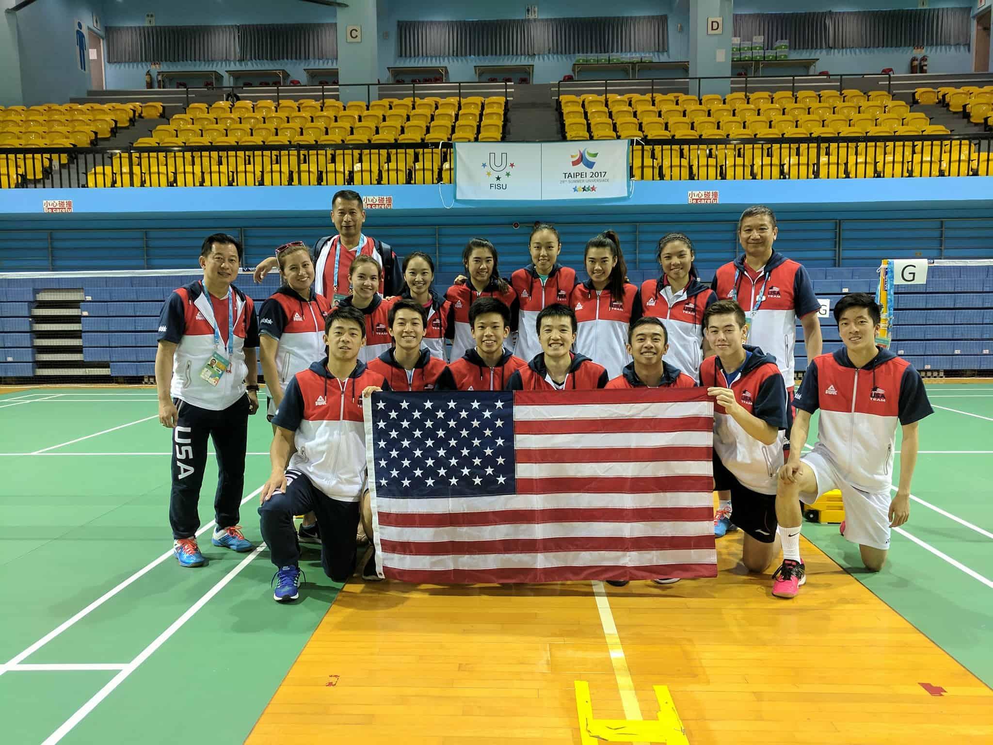 Badminton team with flag