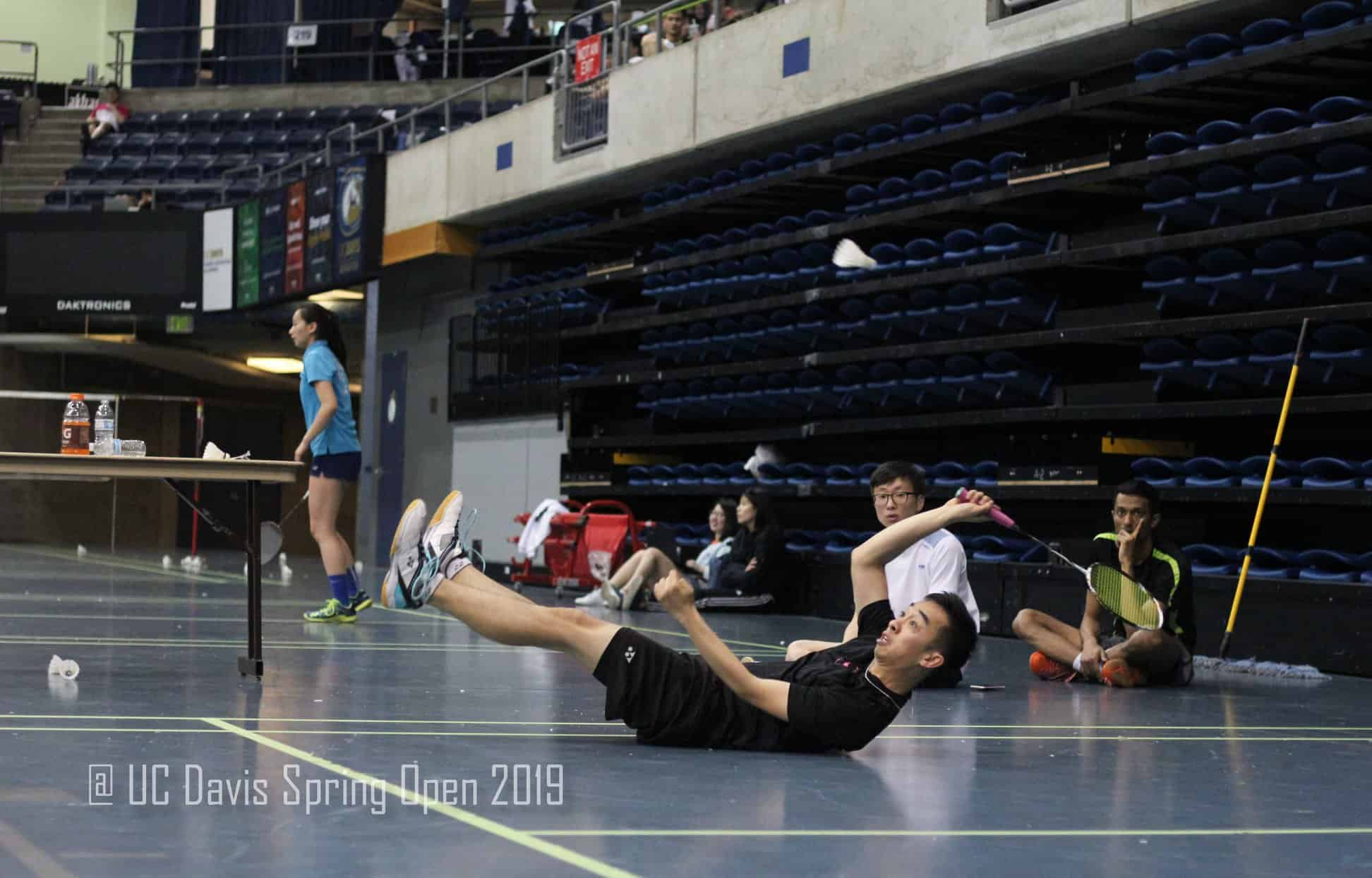 Justin Ma playing badminton